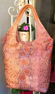 Apricot:pink python tote with braided handle