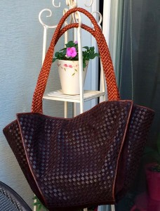 Brown woven tote