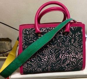 Laser bag large with python longer shoulder strap