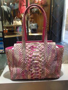 Pink python bag