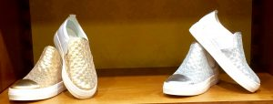 Gold and silver slip ons